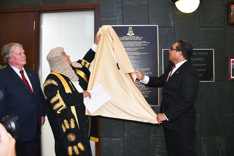 Speaker Premier Unveil Plaque